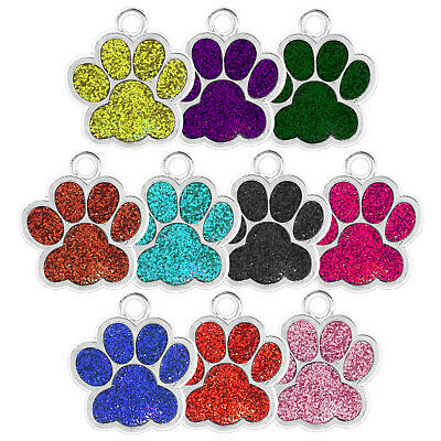 Glitter Paw Engraved Dog Id Name Tag Disc Personalised Pet Cat Identity Tags • 2.99£