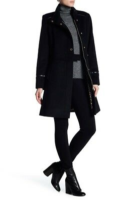 $190.80 • Buy Via Spiga Stand Up Collar Snap Button Black Jacket Size 2 US H1506