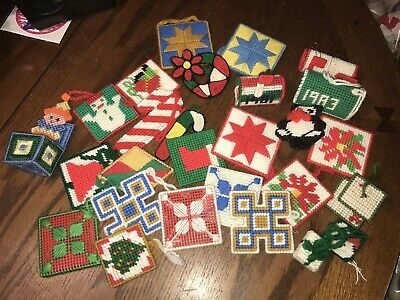 $ CDN13.32 • Buy Vintage Lot Of 27 Needlepoint Plastic Christmas Ornaments & Decorations