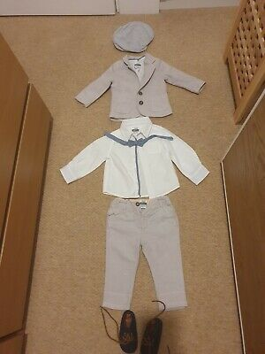 Mamas And Papas Baby Set | 6-9 Months Trousers,  Jacket, Shirt And Bow Tie. • 12£