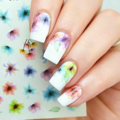 AU2.69 • Buy Nail Art Stickers Decals Watercolour Spring Flowers