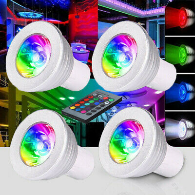 4x GU10 4W 16 Colour LED Spot Light RC Bulbs Changing RGB Dimmable Lamp Remote • 10.98£