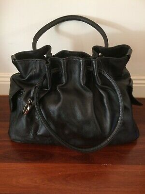 AU99 • Buy OROTON Soft Black Leather Large Hobo Tote Bag With Gathered Top