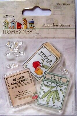 Papermania Mini Clear Stamp - HOME NEST - SEED PACKS - GARDENING (JL) • 2.75£