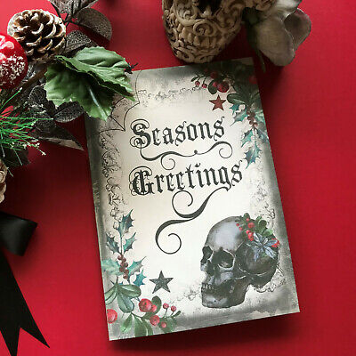 Gothic Skull Christmas Greeting Card Holiday Cards Alternative Spooky  • 4.50£