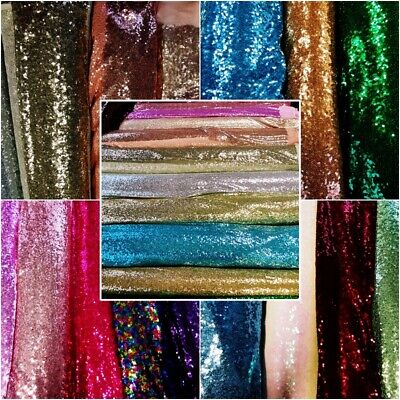 Sequin Fabric, Table, Backdrop, Dress Making Choice Of Colours Sold By Meters • 1.10£