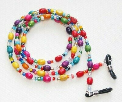 Spectacle/Sun Glasses Chain/Cord Mixed Colour Wooden Oval Wood Tube Beads B • 3.99£