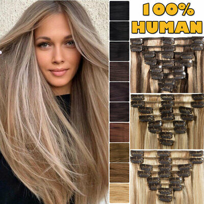 Russian 100% Human Hair Extensions Clip In/On Real Remy Full Head 8 -24  UK HOT • 15.32£