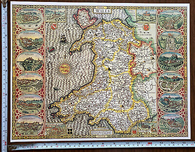 Old Tudor Poster Map Wales Inc 16 Castles: Speed 1600s 15  X 12 Reprint Antique • 9.99£