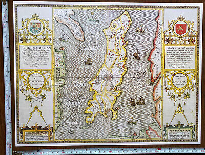 £9.99 • Buy Old Tudor Poster Map Isle Of Man: Speed 1610 1600s 15  X 12 Reprint Antique