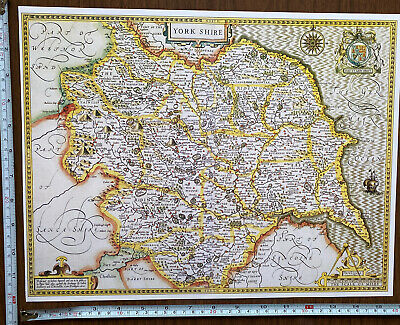 Old Tudor Poster Map Yorkshire Speed 1610 1600s 15  X 12 Reprint Antique Vintage • 9.99£