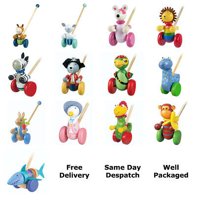Orange Tree Toys Wooden Push Along Toys - 12+ Assorted - Free Delivery • 14.49£