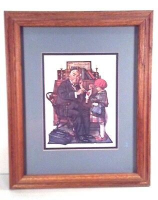 $ CDN23.93 • Buy NICE! NORMAN ROCKWELL PRINT Doctor & Girl/Doll 1929 Matted OAK FRAMED 17 X14
