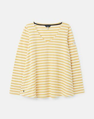 Joules Womens Harbour Lightweight Swing V Neck Jersey Top - Mustard Stripe • 10.95£
