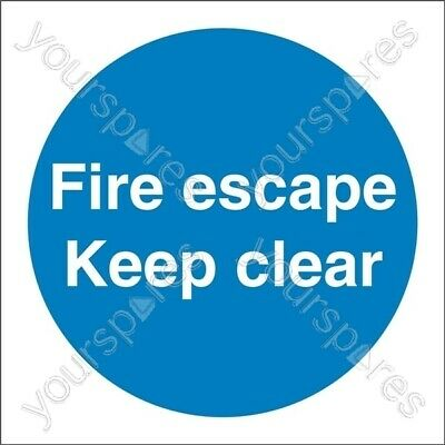 Castle Promotions Fire Escape Keep Clear Sign - Self Adhesive Vinyl - 100mm X 10 • 5.05£
