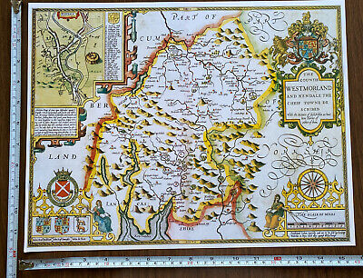 Old Tudor Poster Map Westmorland, Lake District: 1600's 15  X 12 Reprint Antique • 9.99£