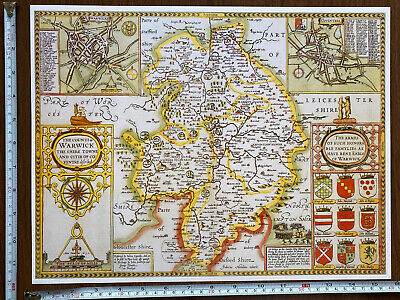 Old Tudor Poster Map Warwickshire, Coventry Speed 1600s 15  X 12 Reprint Antique • 9.99£
