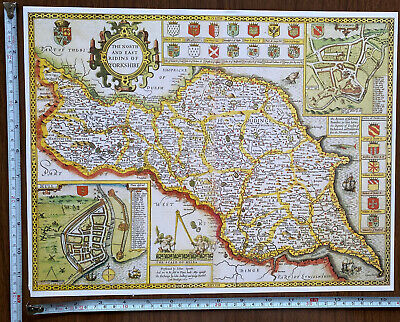 Old Tudor Poster Map North, East Yorkshire: Speed 1600s 15  X 12 Reprint Antique • 9.99£