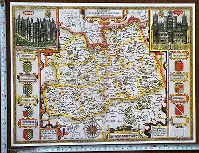 Old Tudor Poster Map Of Surrey Speed 1600s 15  X 12 Reprint Antique Vintage • 9.99£