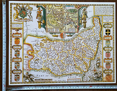 £9.99 • Buy Old Tudor Poster Map Of Suffolk, Ipswich: Speed 1600s 15  X 12 Reprint Antique