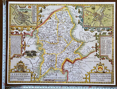Old Tudor Poster Map Staffordshire Speed 1600s 15  X 12 Reprint Antique Vintage • 9.99£