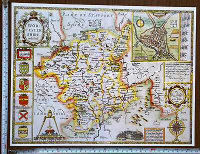Old Tudor Poster Map Worcestershire Speed 1600s 15  X 12 Reprint Antique Vintage • 9.99£