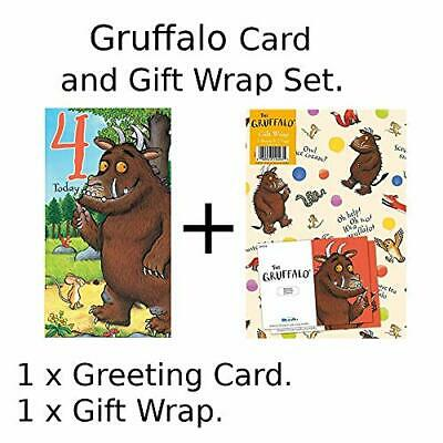 £3.99 • Buy Card And Gift Wrap Pack - Hey Gruffalo Age 4 Birthday Card NEW