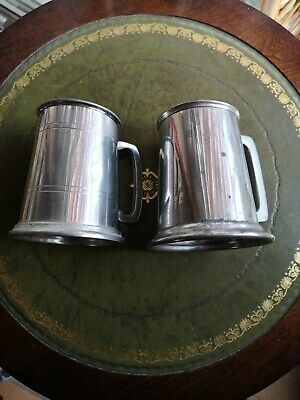 Viners Of Sheffield And English Pewter Made In Sheffield 1 Pint Pewter Tankards • 4£