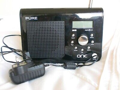PURE Portable Radio ONE AM/FM Digital Black Battery Or Mains With Lead • 9£