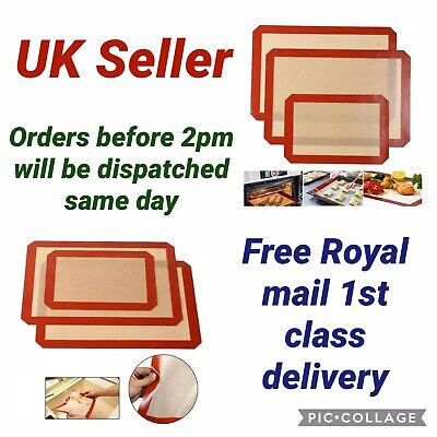 Set Of 3 Silicone Baking Mats Sheet Reusable Non Stick Tray Mats Cookies Pastry • 9.99£