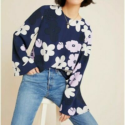 $ CDN161.30 • Buy Anthropologie Marimekko Sorea Kevattalkoot Floral Blue Top Large New