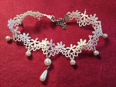 AU15 • Buy Burlesque Sexy Gypsy Wedding White Lace Pearl Bead Drop Choker Necklace