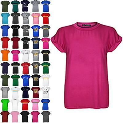 £3.99 • Buy Plus Size Ladies Womens Plain Baggy Oversized Short Turn Up Sleeve T-Shirt Top