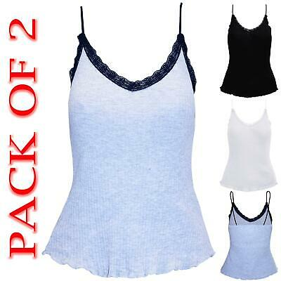 £3.99 • Buy EX PRIMARK PACK OF 2 Womens Ladies Lace Trim Camisole Vest Strappy Tank Vest Top