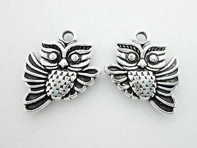 25  X Owl Flying Charms Tibetan Antique Silver Colour  • 2.99£