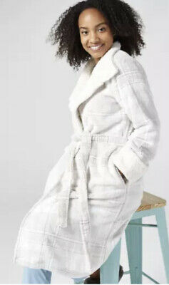 Ivory White Cozee Home Tartan Stand Collar Dressing Gown Robe - Large - BNWOT • 22.99£