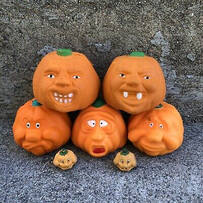 $ CDN65 • Buy Squishy Weird Face Jack-o-Lantern Lot • Vintage Halloween Soft Foam Pumpkins