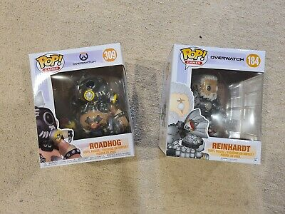 AU20 • Buy BIG Overwatch POP! Vinyls - Reinhardt Bare Face, Roadhog - NEW IN BOX