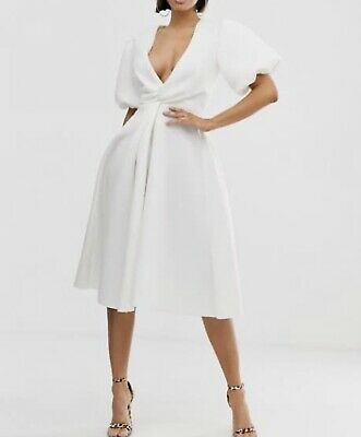 AU60 • Buy Asos Bubble Sleeve White Cocktail Dress Size 14