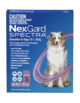 AU87 • Buy NexGard Spectra Chewables For Dogs Purple 15.1-30kg 6 Pack