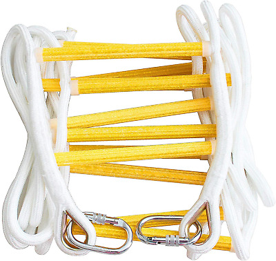 ISOP Fire Escape Rope Ladder 2 Story 5m 16ft - Flame Resistant Safety Ladders Up • 94.98£