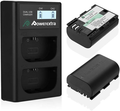 Powerextra 2 X LP-E6 LP-E6N Rechargerable Battery And Dual LCD Charger With EOS • 29.95£
