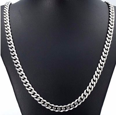 10mm 20  Or 28  Stainless Steel Curb Chain Link Necklace Silver Tone 925 STCr10S • 9.99£