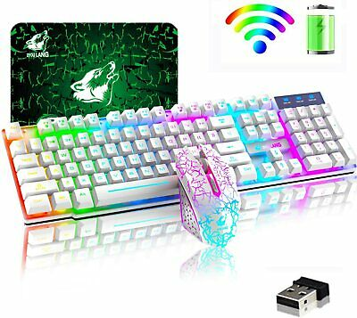 AU61 • Buy Wireless Gaming Keyboard And Mouse Combo With Rainbow LED Backlit Rechargeable