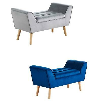 Velvet Footstool Ottoman Pouffe Stool Bench Chair With Storage Space Bedroom BN • 99.99£