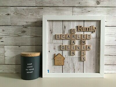Scrabble Art Picture Frame Personalised Word Art - Wood Panel Neutral Background • 26£