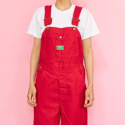 AU255.05 • Buy SUPER RARE Vintage 70's Cherry Red Corduroy Overalls By ELY Size Womens Xsmall