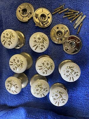 Ceramic Door Knobs White With Floral Design On A Brass Finish Back Plate • 5£