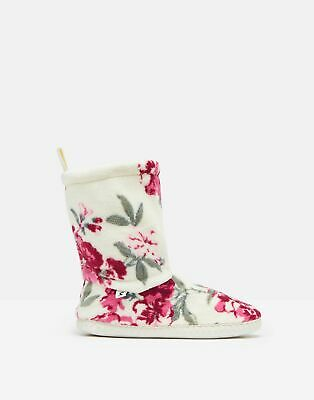 Joules Womens 213077 Slippersock - Dark Pink Floral • 11.96£