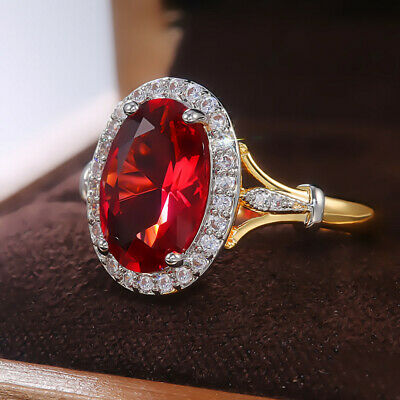 £1.96 • Buy Fashion Women's Ring 18k Yellow Gold Plated Oval Cut Ruby Jewelry Size 6-10
